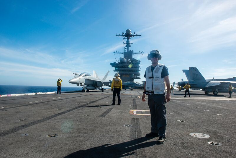 Assemblyman Angelo Santabarbara is pictured aboard the USS John C Stennis off the coast of San Diego. He embarked on the aircraft carrier for a one-night stay as part of the U.S. Navy's Leaders to Sea program. 10/24/2015
