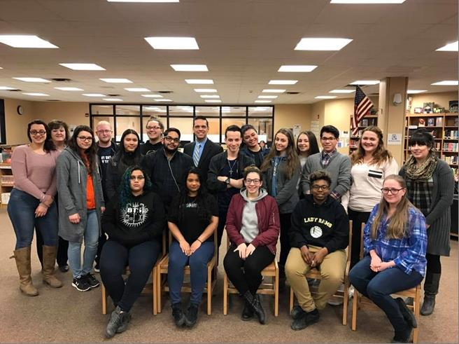 Assemblyman Santabarbara visited Amsterdam High School's Smart Scholar students. Thanks for sharing your experience with this amazing Early College Program partnered with Fulton-Montgomery Commun