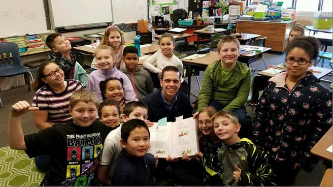 Assemblyman Santabarbara celebrated #ReadAcrossAmerica at Barkley Elementary School in the City of Amsterdam by being a guest reader for the 4th grade class!