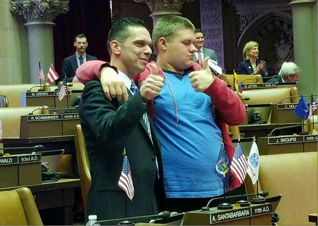 Assemblyman Santabarbara is joined in the Chamber by his son, Michael, diagnosed with Autism at age 3. (2/14/17)