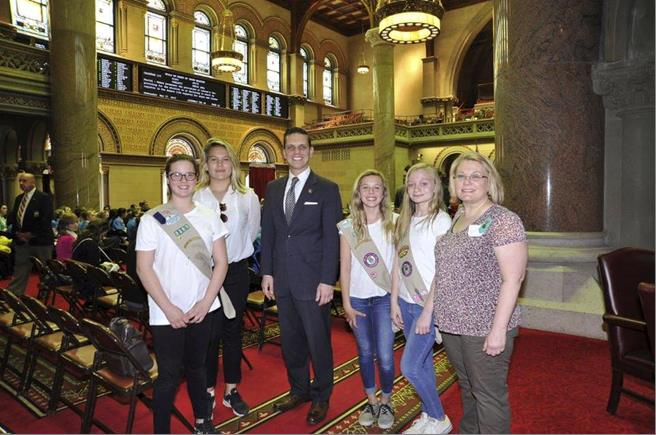 Assemblyman Santabarbara welcomed Girl Scout Troop 2381 from the Village of Canajoharie in Montgomery County to the Assembly Chamber today, May 17th, 2017.
