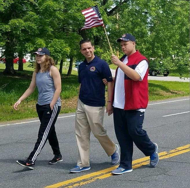 Assemblyman Santabarbara marched with his children, Marianna and Michael, in the Delanson Volunteer Fire Department Memorial Day Parade.   May 27th, 2017