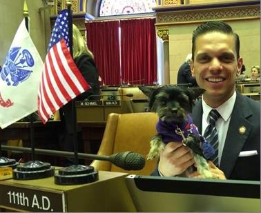 Animal Advocacy Day at the Capitol with Assemblyman Santabarbara and his teacup Yorkie, Muffy on May 28th 2017.