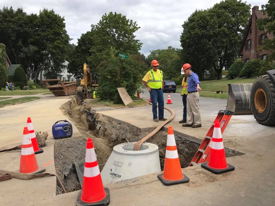 On August 27th, 2017, Assemblyman Santabarbara toured the construction site for an update on the emergency infrastructure repairs now underway on Pershing Road in the City of Amsterdam. With this proj
