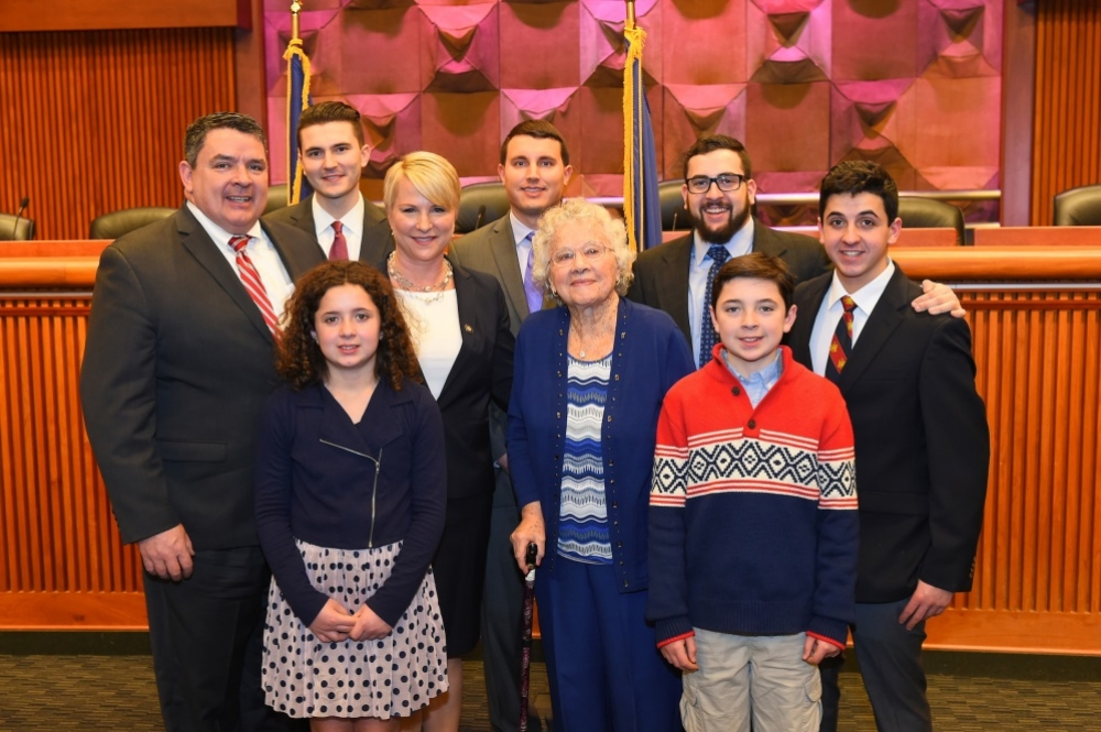 Assemblywoman Mary Beth Walsh with her family at Tuesday's swearing in ceremony in Albany.<br />