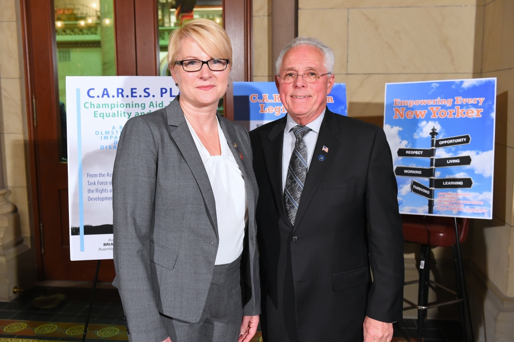 Assemblywoman Mary Beth Walsh and Assemblyman Clifford W. Crouch, chairman of the Assembly Minority Task Force on Protecting the Rights of People with Developmental Disabilities, took part in the roll