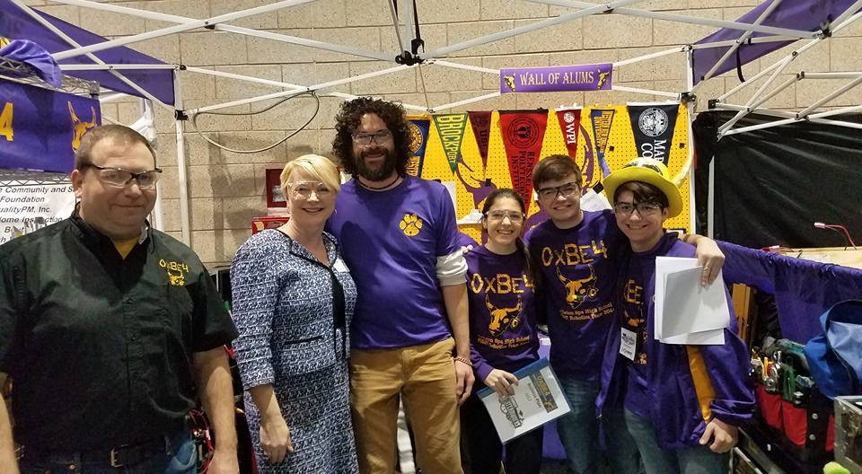 Assemblywoman Mary Beth Walsh (R,C,I,Ref-Ballston) pictured with members and advisors of Team OxBE4 from Ballston Spa.