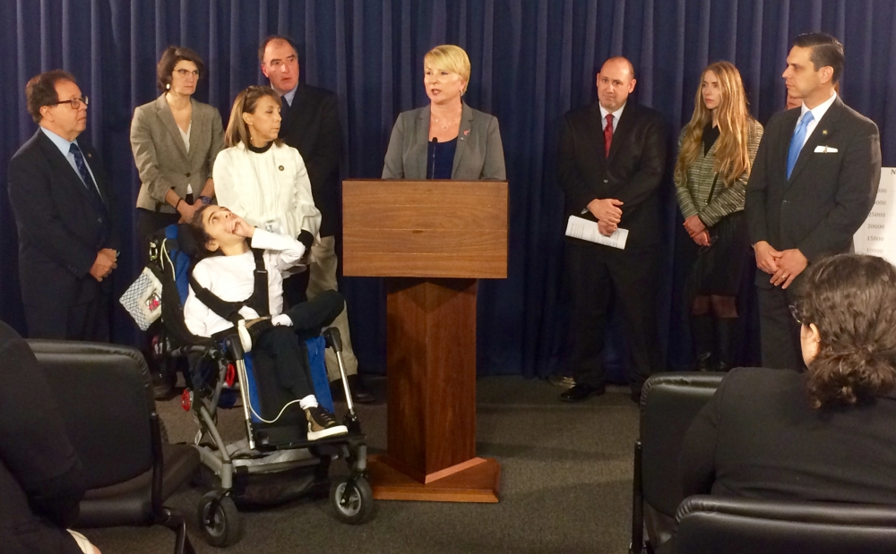 Assemblywoman Mary Beth Walsh (R,C,I,Ref-Ballston) joined colleagues and representatives of several autism advocacy groups for a press conference at the State Capitol's Legislative Office Building on Monday, April 3.<br />