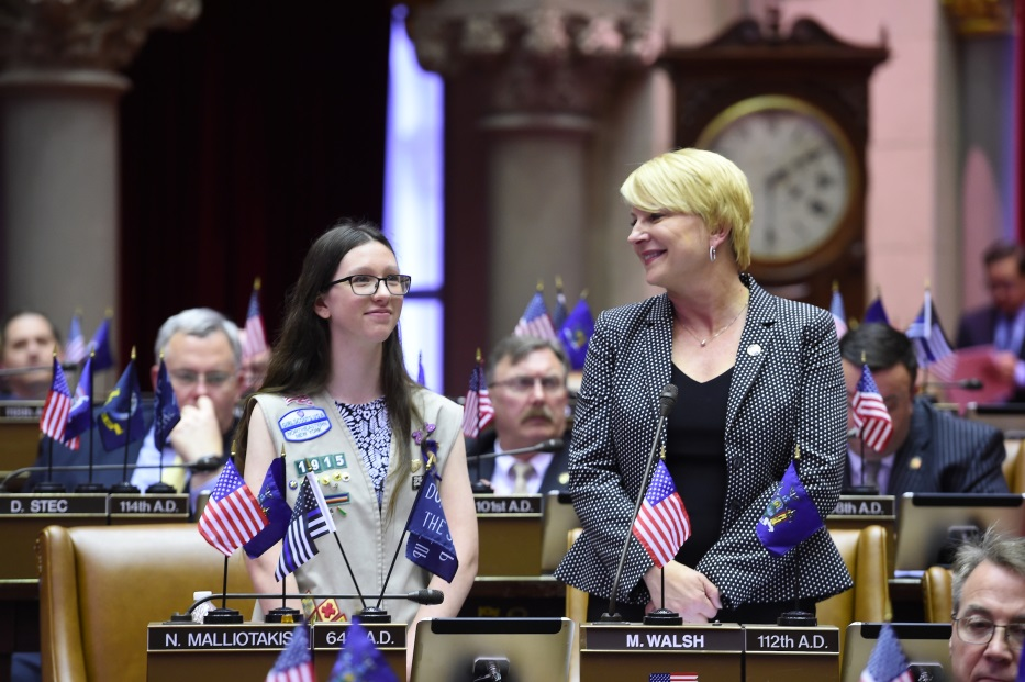 Assemblywoman Mary Beth Walsh (R,C,I,Ref-Ballston) welcomed Girl Scout and Maple Hill freshman Samantha Siciliano to the Capitol for the Young Women's Leadership Initiative's 'Girls at the Capitol' day on Tuesday, April 25.<br />