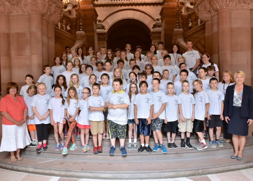 Assemblywoman Mary Beth Walsh (R,C,I,Ref-Ballston)and Senator Kathy Marchione (R,C,I,Ref-Halfmoon) welcomed the Greenfield Elementary fourth grade class for a tour of the state Capitol on Tuesday, June 13.<br />