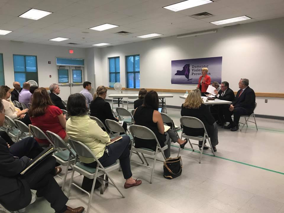 Assemblywoman Mary Beth Walsh and members of the Minority hosts a Domestic Violence Prevention Forum at the Glenville Senior Center on September 13, 2017. The representation from so many different groups and organizations from Schenectady, Saratoga and Rensselaer Counties was critical to having a well-rounded discussion about such a difficult topic.