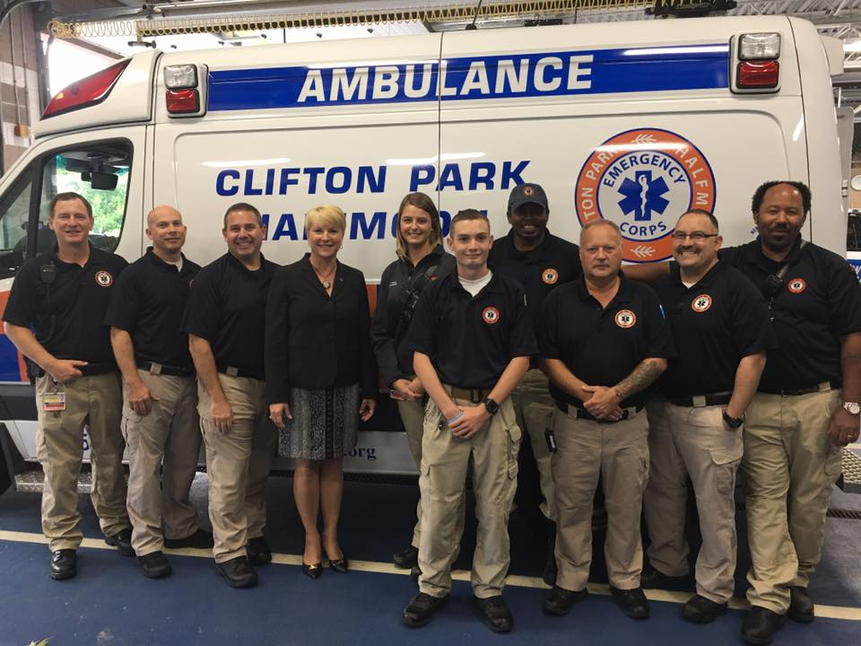 Assemblywoman Walsh visits with staff of Clifton Park & Halfmoon EMS.<br />