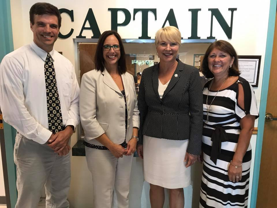 Assemblywoman Mary Beth Walsh with Sue Capatroppa and Andy Gilpin at CAPTAIN Youth and Family Services.<br />