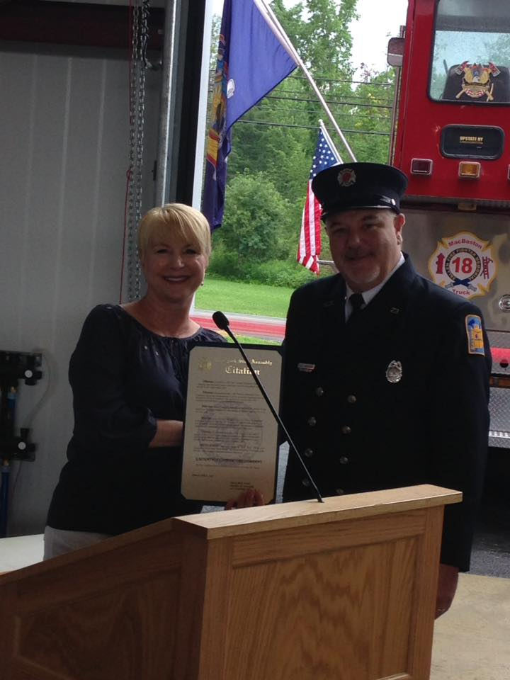 Assemblywoman Mary Beth Walsh attends ribbon cutting for Galway's new Fire Department.<br />