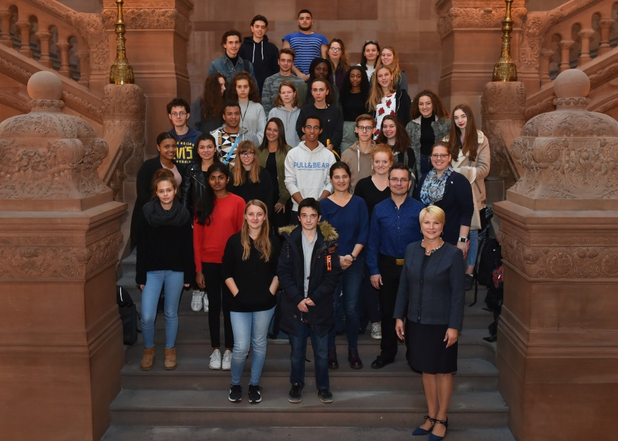 Assemblywoman Mary Beth Walsh (R,C,I,Ref-Ballston) had the opportunity to meet with a group of French exchange students from Shenendehowa High School during a tour of the state Capitol on Tuesday, October 31. &nbsp; &nbsp;&nbsp;<br />&nbsp;