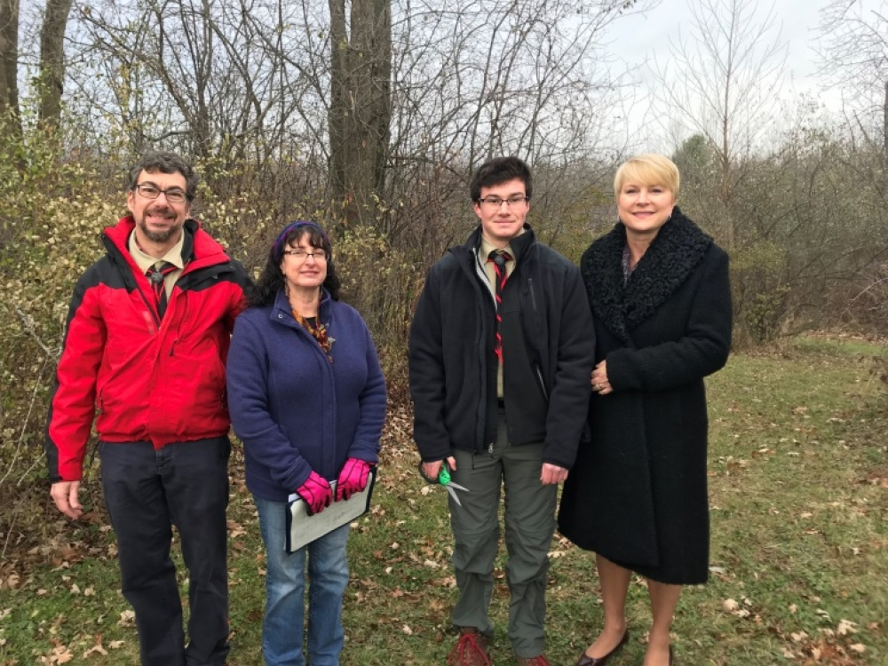 (From left to right) Parents Steve and Cheryl Bianconi, Eagle Scout candidate Alex Bianconi and&nbsp; Assemblywoman Mary Beth Walsh (R,C,I,Ref-Ballston) celebrated the completion of Alex&#39;s Eagle Scout Beaver Dam Trail improvement and enhancement project at a dedication ceremony on Saturday, November 18.&nbsp;<br />&nbsp;