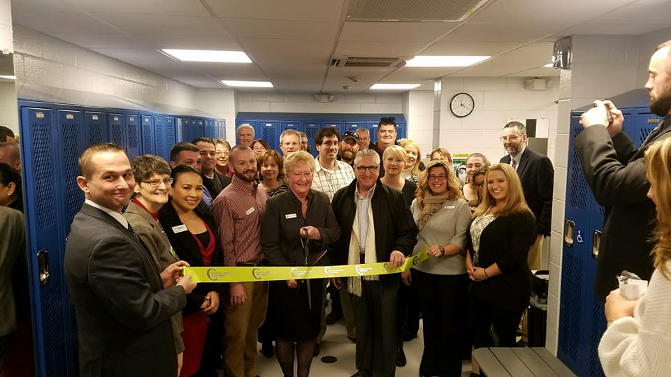A ribbon-cutting in the men&#39;s locker room at the Glenville YMCA? Just one of the many perks of the job! Congratulations Donna Gigone, the new locker rooms look great!<br />&nbsp;