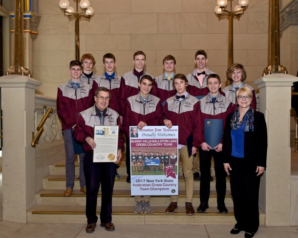 Assemblywoman Mary Beth Walsh (R,C,I,Ref-Ballston) welcomed recent state champions, swimmer Olivia Jack, of the Scotia-Glenville/Burnt Hills Ballston Lake Swim Team (left), and the Burnt Hills-Ballston Lake Boys Varsity Cross Country Team (right), to the state Capitol on Tuesday, January 30, 2018.<br />&nbsp;