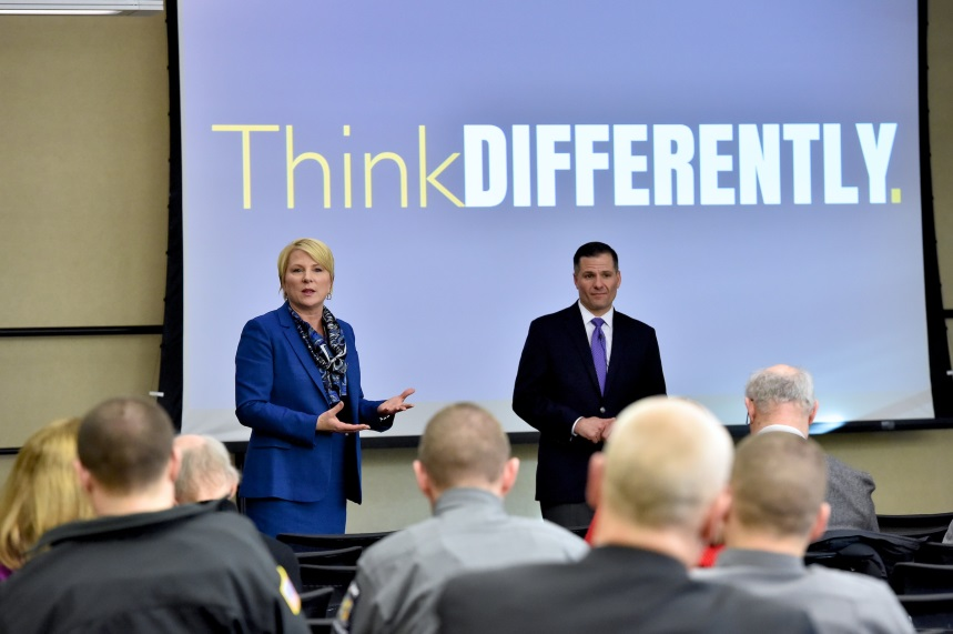 "Assemblywoman Mary Beth Walsh and Dutchess County Executive Marc Molinaro address attendees of a ""Think DIFFERENTLY"" community forum in Clifton Park on Wednesday, January 24."