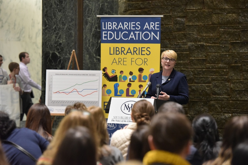 Assemblywoman Mary Beth Walsh (R,C,I,Ref-Ballston) echoed calls for library funding in remarks at a New York Library Association rally in Albany on Wednesday, February 28.