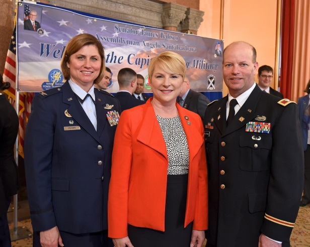 (L-R) Colonel Michele Kilgore, the Commander of the 109th Airlift Wing at the Stratton Air National Guard Base in Scotia, Assemblywoman Mary Beth Walsh and Colonel Joseph Morrow, Commander of the Watervliet Arsenal/