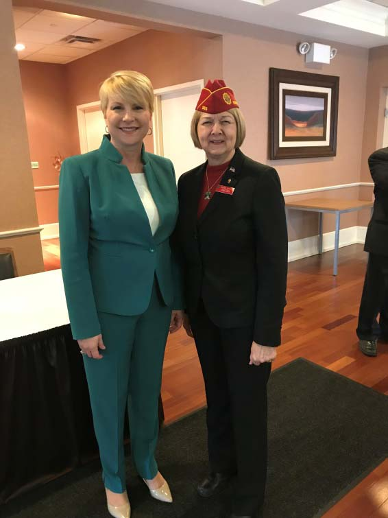 Assemblywoman Mary Beth Walsh (R,C,I,Ref-Ballston) welcomes American Legion National Commander Denise Rohan to the Capital Region at a commemoratory event on Thursday, April 12.