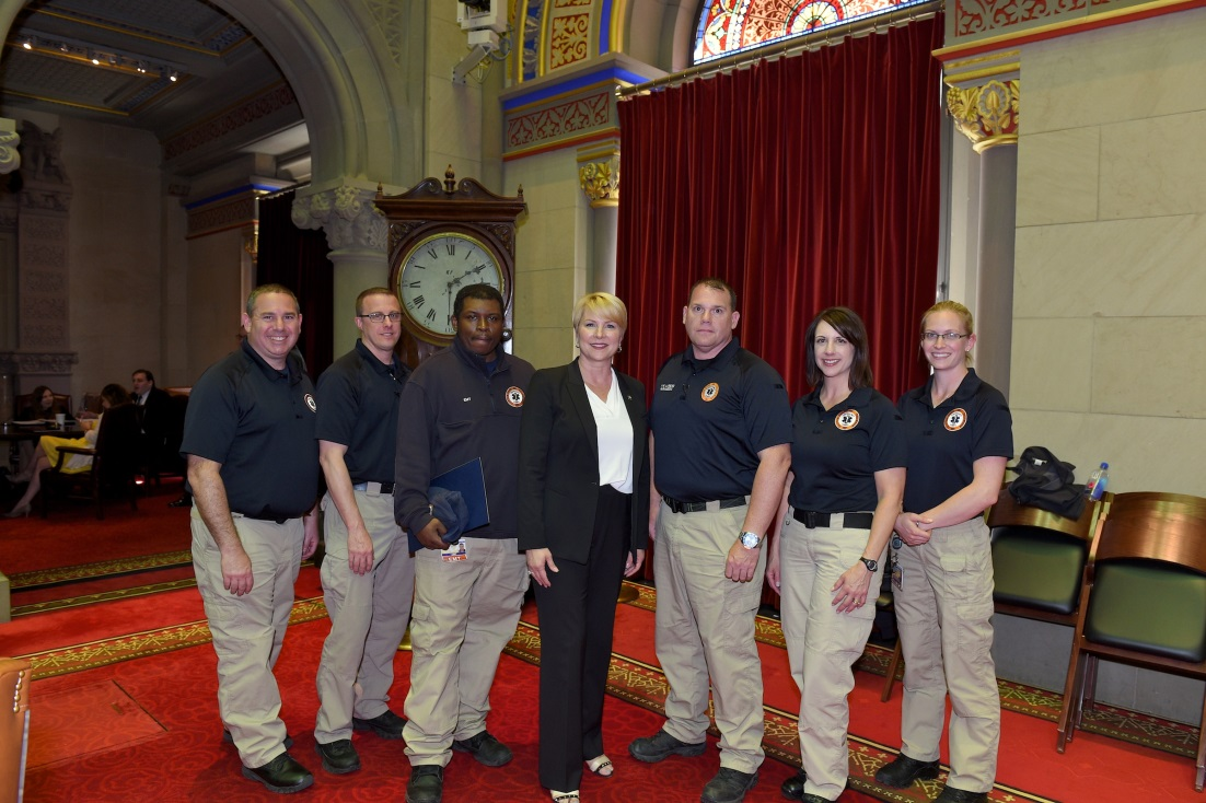Assemblywoman Mary Beth Walsh (R,C,I-Ballston) pictured with members of the Clifton Park-Halfmoon Emergency Medical Services Corps on Tuesday May 21.