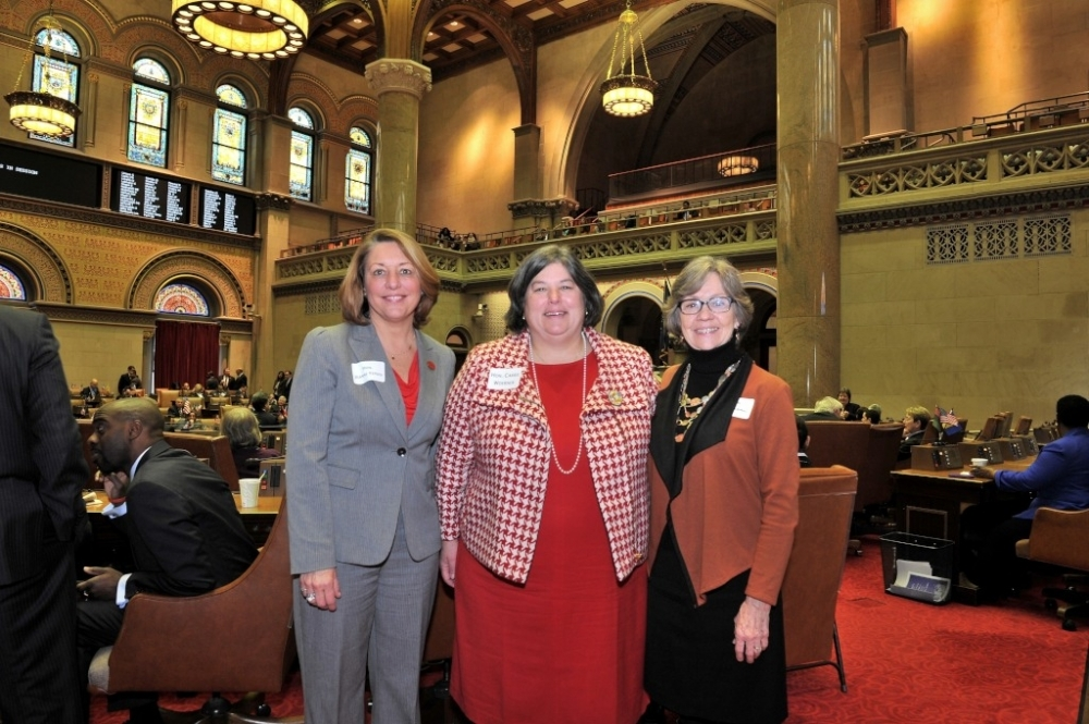 Assemblymember Woerner welcomes Saratoga Springs Mayor Joanne Yepsen and Greenwich Town Supervisor Sara Idleman to the Assembly Chamber.