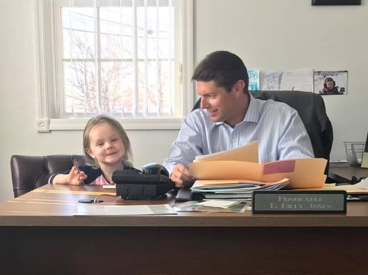 "In April 2017, Assemblyman Jones brought his daughter to work as part of National ""Take Your Daughters and Sons to Work Day""."