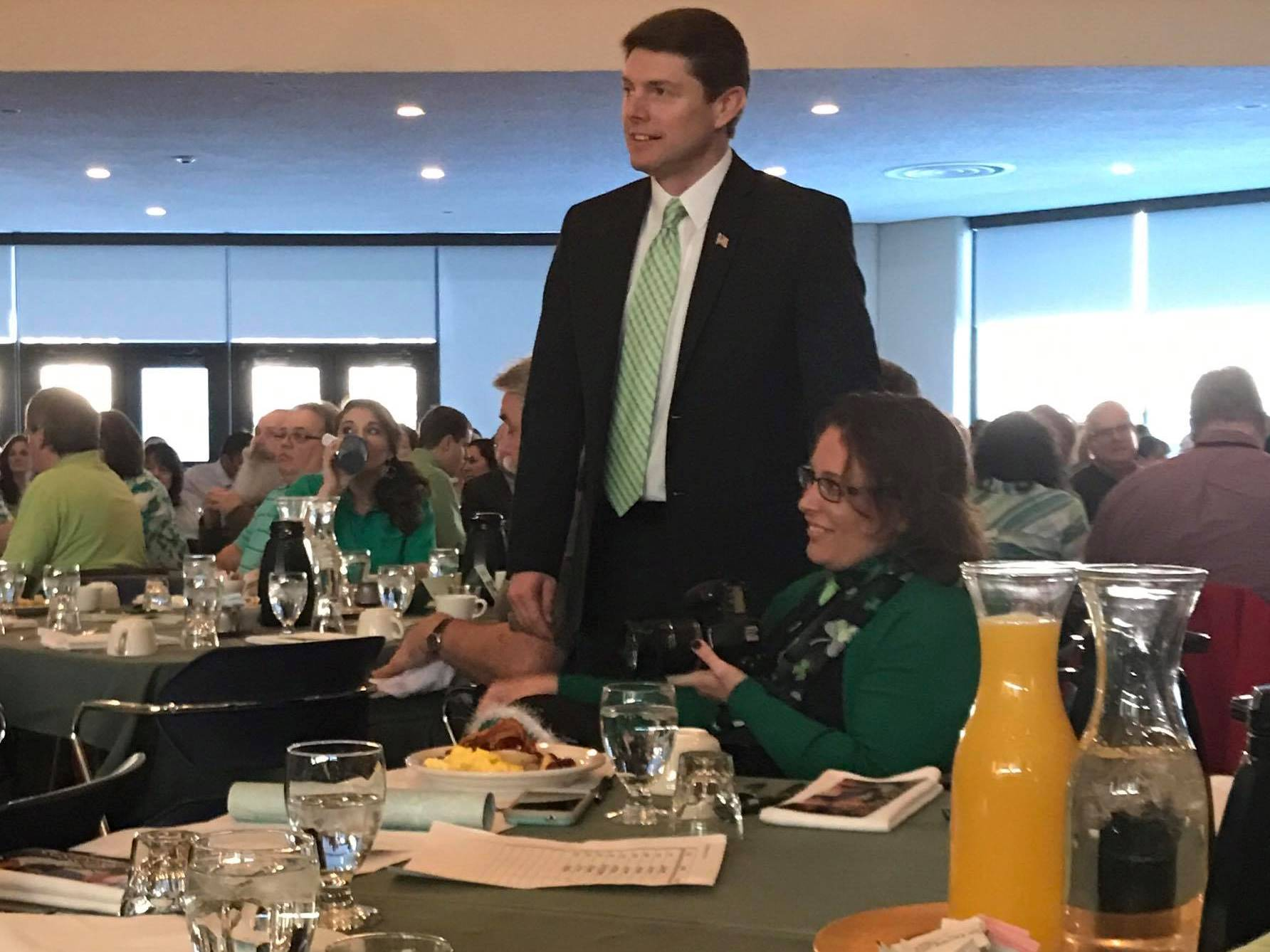 In March 2017, Assemblyman Jones attended the North Country Chamber of Commerce's 59th Annual St. Patrick's Day Breakfast.<br />