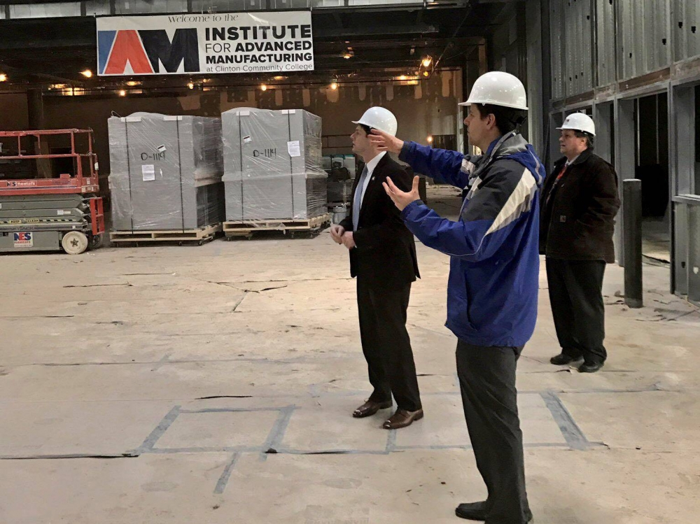 In March 2017, Assemblyman Jones toured the construction of the Institute for Advanced Manufacturing at Clinton Community College.<br />