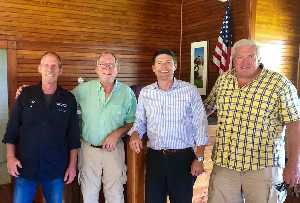 Assemblyman Billy Jones meets with town leaders in Brighton to discuss infrastructure needs in August 2019.