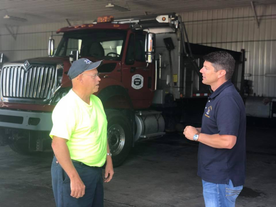 Assemblyman Billy Jones tours the highway garage in Town of Clinton as part of his infrastructure tour in July 2019.