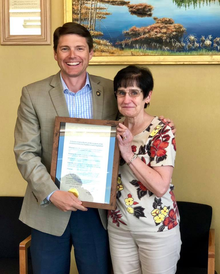 Assemblyman Billy Jones presented a citation to Jamie Rivers on her retirement after 28 years of service to the Franklin County Legislature.