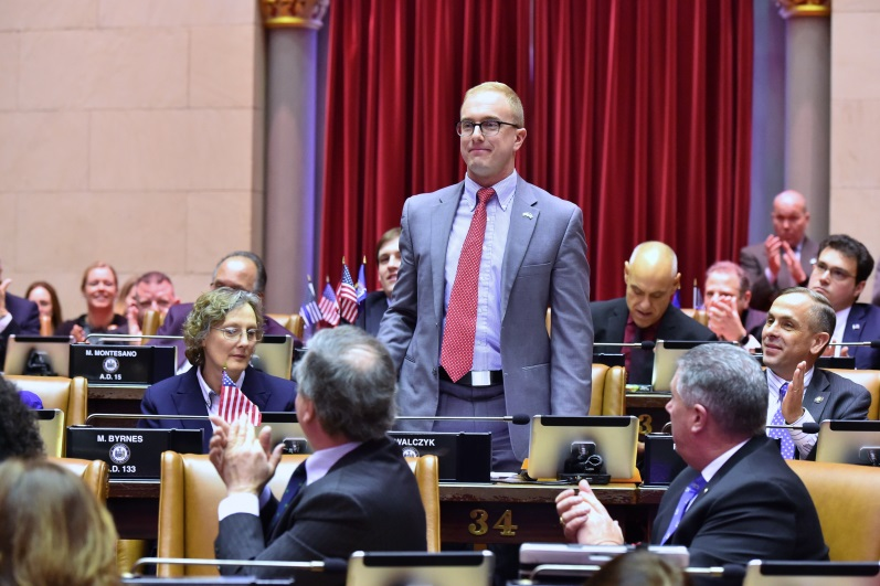 Assemblyman Mark Walczyk (R,C,I,Ref-Watertown)is formally introduced to his new colleagues