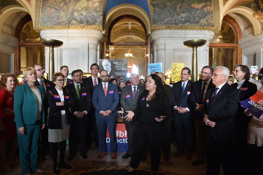Assemblyman Mark Walczyk (R,C,I, Ref-Watertown) joins legislative leaders and Direct Care advocates at the State Capitol on March 25, 2019