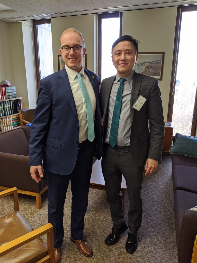 Assemblyman Mark Walczyk is seen in the attached photo meeting with Medical Society of the State of New York's Fifth District Councilor, Dr. Howard Huang, practitioner of Physical Medicine & R