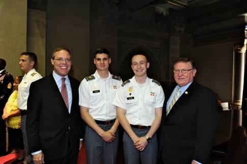 Left to right, Assemblyman Will Barclay (R,C,I-Pulaski), West Point Cadet Nicholas Tyler of Adams, Cadet Brandon A. Lloyd of Watertown, and Assemblyman Ken Blankenbush (R,C,I-Black River) celebrate the U.S. Military Academy at West Point at the State Capitol.