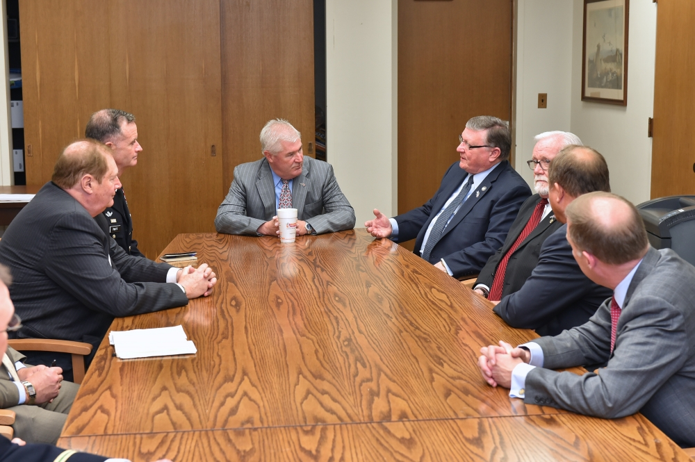Assemblyman Ken Blankenbush (R,C,I-Black River) joined Assembly Minority Leader Brian Kolb (R,C,I,Ref-Canandaigua) and fellow North Country legislators to speak with Major General Walter Piatt, who is stationed at Fort Drum.<br />