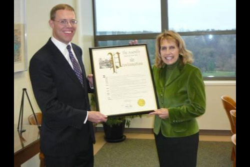 Assemblyman Will Barclay (R,C,I—Pulaski) presented SUNY Oswego President Deborah F. Stanley with an Assembly Proclamation, honoring the college's 150 years of education.  The college was founded in 1861.  This year the college is hosting its Sesquicentennial Celebration with a number of special events.  Oswego is one of 13 university colleges in the SUNY system.  The college's founder, Edward Sheldon, was known for his innovative teaching methods.