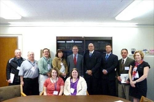 Assemblyman Will Barclay (R,C,I—Pulaski) met with teachers from throughout Central New York at his office in Albany.  From left, in front row, are Carrie Coniski (Fulton) and Pat Kush (Fulton).  From left, in back row, are Roger Burch (BOCES), Vern Borrowman (Mexico), Jim Waltros (APW), Carol Blackburn (Phoenix), Assemblyman Will Barclay, Paul Farfaglia (Jordan Elbridge), Doug Hickman (Jordan Elbridge), John Gosek (Pulaski), and Heather Gullo (Central Square).  They discussed school aid distribution and other matters affecting schools throughout Central and Upstate New York.