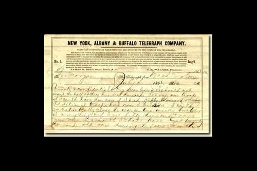 "This image is side 1 of a telegram, marked ""Private and Confidential"", from President Abraham Lincoln to Governor Edwin D. Morgan of New York, 1862. Lincoln, having requested 300,000 troops from New York, pressed Morgan to send as many troops as he could, as quickly as possible. Noting that time was of the essence, he promised Morgan that the more quickly he was sent the troops, the more likelihood there would be of the Union winning the Civil War quickly, ensuring the survival of more of the soldiers."