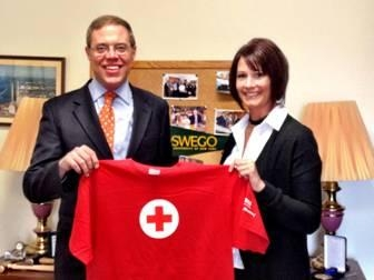 Assemblyman Will Barclay (R,C,I—Pulaski) is pictured with Danielle Hayden of the Red Cross. Barclay will host a blood drive with the Red Cross on Friday, May 3, at the Elks Lodge in Oswego at 132 W. 5th Street from 9 a.m. to 1 p.m. To sign up, call 315-598-5185.