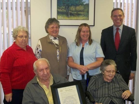 Victor and Margaret Potish recently celebrated their 70th wedding anniversary. Assemblyman Barclay presented the couple with a State Assembly Resolution commemorating the family milestone. Pictured are Margaret and Victor Potish in front. In back, pictured with Assemblyman Barclay, are their daughters Nancy Ridgeway, Peggy Manchester and Vicki Affinati. Absent from the photo is Paulette Lindsey.
