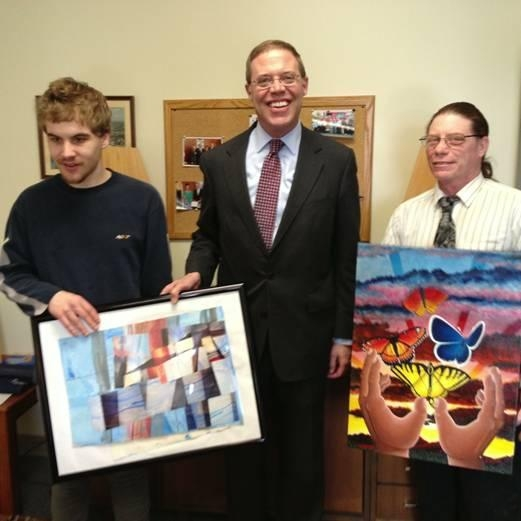 Assemblyman Will Barclay (R,C,I—Pulaski) recently met with featured artists who are part of the latest issue of Unique, a magazine which is published annually to display the creative work of people with disabilities living in Central New York in conjunction with ARISE. Pictured, from left, are artist Derek Grindle, Assemblyman Barclay, and artist Andrew Swarm.