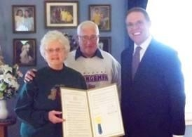 Assemblyman Will Barclay (R,C,I—Pulaski) recently presented Mr. and Mrs. Terry Slater with an Assembly Resolution in honor of their 50th wedding anniversary.