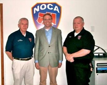 David Allen, Vice President of Northern Oswego County Ambulance Inc.; Assemblyman Will Barclay; and Norman Wallis, Executive Director of Northern Oswego County Ambulance Inc.