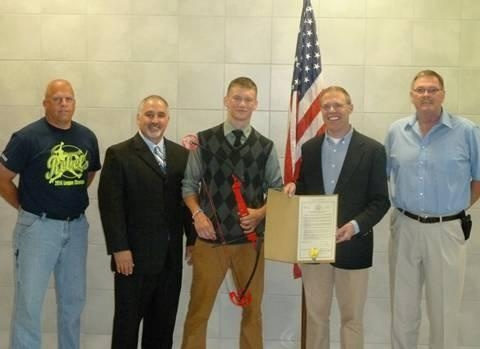 Assemblyman Will Barclay (R,C,I--Pulaski) recently honored Altmar-Parish Williamstown High School's Jarid Paninski for capturing first place in the New York State National Archery in the Schools Program competition.