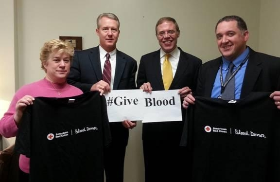 From the left are Diane Oldenburg from Oswego County Health Department, Jeff Coakley of Oswego Health, Assemblyman Barclay, and Brian Coleman of Oswego County Opportunities.  The blood drive will be held on Friday, May 1 at the Oswego Elks Lodge at 135 W. 5th St., Oswego, NY 13126 from 9 a.m. to 2 p.m.