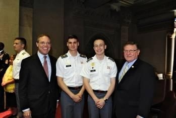 Assemblyman Will Barclay (R,C,I-Pulaski) (left) joined his legislative colleagues in celebrating West Point Day in Albany.  Cadets were welcomed to the Capitol and thanked for their service.  Cadet Nicholas Tyler, second from left, who graduated from South Jefferson High School, was among the cadets who attended. Cadet Tyler is slated to graduate from the academy in 2017. Also pictured is Cadet Brendan Lloyd from Watertown and Assemblyman Ken Blankenbush (R,C,I—Black River) (right).